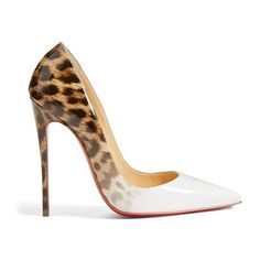 Women's Christian Louboutin 'so Kate' Pointy Toe Pump ($745) ❤ liked on Polyvore featuring shoes, pumps, leopard shoes, patent leather pumps, high heel stilettos, pointed toe stilettos and leopard print pumps