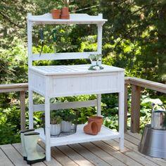 White Wash Potting Bench.