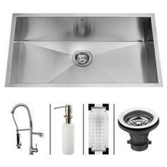 Vigo All-in-One Stainless Steel 32x19x10 0-Hole Single Bowl Kitchen Sink-VG15067 at The Home Depot