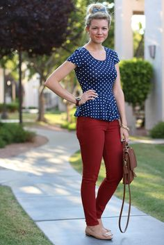 polka dot peplum, red jeans, nude flats. This looks so gorgeous.
