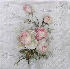 Set of 2 pcs 3-ply ''Vintage Sagen Roses by MSNapkinsSupply