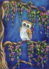 "NFAC ACEO Original TL Gulat Acrylic Folk Art Painting Bird Owl title ""The Owlet"""