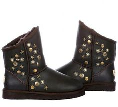 Ugg Outlet !It's really really worth,cheap!You can own it !Metallic Brown Short Rivet UGG Boots