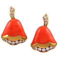 1STDIBS.COM Jewelry & Watches - Van Cleef & Arpels - VAN CLEEF & ARPELS Diamond Coral Earrings - Yafa Signed Jewels