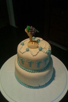 Mmm...  topper is interesting.  1st Communion cake