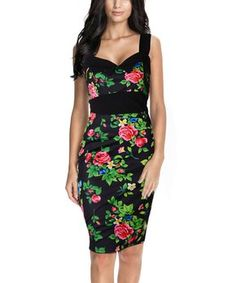 Miusol Women s Vintage Oriental Rose Floral Print Sleeveless Black Cocktail Dress  Size S 2b0a4d3ed