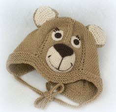 Knit Bear Hat Knitted Baby Boys Hat Crochet by coloratamarmellata