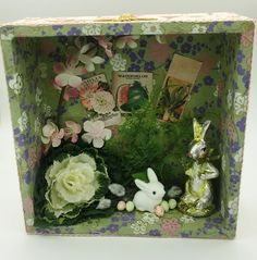 Easter Spring Diorama  shadow  box Vintage Paper Rabbit Bunny Bumble Bee