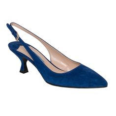 You'll love the unique, yet professional style of these Prada suede slingback pumps. The cobalt suede and pointed toe give these Italian-made pumps a look that is sure to impress in any setting.