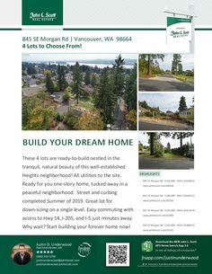 Real Estate for Sale-4 Beautiful Lots Available! Justin Underwood is the listing broker with John L Scott located at 204 SE Park Plaza Drive Suite 109, Vancouver, Washington 98684. His email address is justinunderwood@johnlscott.com. You can also reach him at: (360) 333-5706. Call or text today if you have questions about any of these available lots!