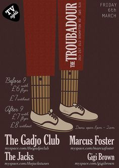 Troubadour Gig Poster 6th March by keegam_co_uk, via Flickr