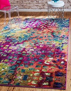 Mix and match throughout your home to create your own original decorating style using Unique Loom Abstract Multicolor Barcelona Area Rug.