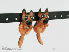 German Shepherd Dog Two-Part Earrings Fake by MariasCreativeCorner
