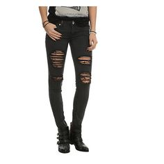 Machine Black Distressed Wash Skinny Jeans Hot Topic (52 AUD) ❤ liked on Polyvore featuring jeans, pants, destruction jeans, denim skinny jeans, skinny fit jeans, destroyed jeans and ripped skinny jeans