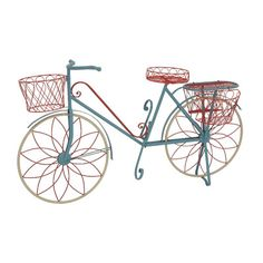 Woodland Imports Metal Bike Plant Stand and Pedestal