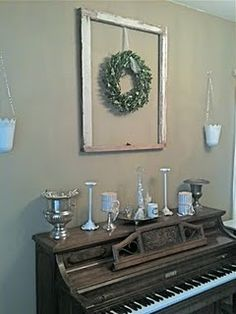 So many old picture frames... this could work for my fireplace when I decorate for Christmas!