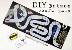 DIY Batman Party Game - Batman Party - Ideas of Batman Party - Here is an easy Batman party game that you can adapt and make for your little Batman fan. Disney Cars Birthday, Batman Birthday, Birthday Games, Halloween Birthday, Boy Birthday Parties, Batman Party Games, Batman Party Supplies, Superhero Party, Homemade Board Games