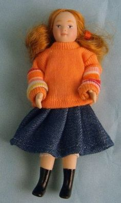 DP098 - Porcelain Doll - Modern Girl in Sweater - Minimum World - The Online Dolls House Superstore. girl 9.