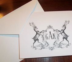 Personalized Monogrammed Stag, Elk Deer Heraldic Crest Note Cards Vintage Inspired Stationery Stationary Set Black Ivory Set of 10