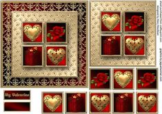 Valentine Square Layers Card Front on Craftsuprint designed by Mary MacBean - Card front with gold hearts, red roses and a gift on square layers which are built up to add depth. There is a My Valentine sentiment or a blank tag for your own message. This card is also suitable for anniversaries or any romantic occasion.  - Now available for download!