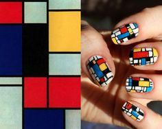 Decorando las uñas con Mondrian. Tomado de www.bauhaus-classics24.com