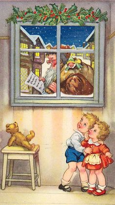 Santa passing window of two children Holiday Images, Vintage Christmas Images, Retro Christmas, Vintage Holiday, Christmas Pictures, Vintage Greeting Cards, Christmas Greeting Cards, Christmas Greetings, Christmas Postcards
