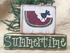 Primitive Country Watermelon Slice Crow Summertime Shelf Sitter Wood Block Set #primitivedecor #primitivewatermelondecor #primitivecrow