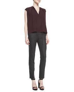 -59C6 Michael Kors Georgette Peasant Top & Samantha Skinny Flannel Pants