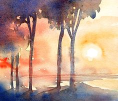 """""""Italian Evening """" Original Watercolour painting.   * Size - 11 x 10 inches.unframed   Painted on a visit to lovely Italy -capturing the colours , heat and light of an Italian sunset by the sea Ultramarine blue, cadmium red, yellow .$40"""