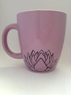 Peaceful purple lotus'  large purple coffee or tea by LittleIsis, $10.00
