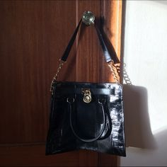 Michael Kors Purse Black leather and suede, gold detailing. Michael Kors Bags Satchels