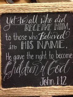 Scripture on chalkboard canvas!