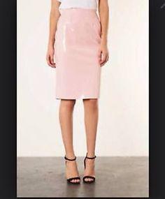 Midi pink patent skirt topshop