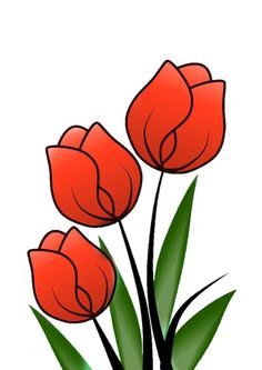 Flores Tulip Flower Drawing, Easy Flower Painting, Flower Art, Tulip Painting, Colorful Drawings, Easy Drawings, Fabric Painting, Painting & Drawing, Bd Art