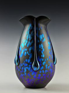 #57. Bohemian Art Glass Czech Iridescent Vase  For sale: