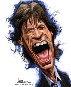 Digital Caricature Of Mick Jagger (Image Source: Chong Jit Leong) Funny Caricatures, Celebrity Caricatures, Los Rolling Stones, Black And White Cartoon, Wtf Face, Weird Face, Caricature Drawing, Music Pics, Keith Richards