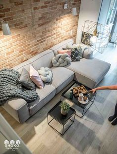 Actually, you just want to be in design house Stockholm furniture and accessories … - living room Living Room Modern, Home Living Room, Apartment Living, Living Room Designs, Living Room Decor, Living Spaces, Small Living, Cozy Apartment, Living Room Brick Wall