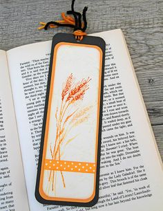 Handmade Bookmark with a Bunch of Wheat Stamped by CarolaBartz