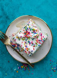 A sprinkled twist on the classic tres leches! Tres leches confetti cake is full of rainbow sprinkles and tastes like heaven. So easy to make!