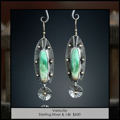 Amy Buettner | Earrings: Sterling silver + Variscite | USD$600