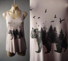 Bear Bird Forest Pine Tree Mother Nature Art Graphic Tank Top 218 mv Shirt S M L #Unbranded #TankCami #Casual