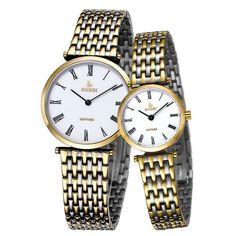 BUREI Simple Men Watch women Sapphire Glass Gold Steel Clock
