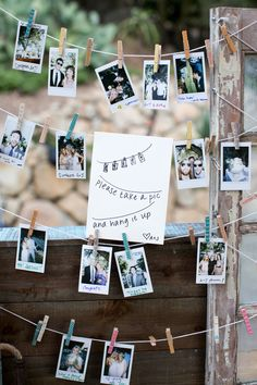 "Alternative guest book, polaroid picture, wedding photos, clothespins, ""take a picture and hang it up"" // Shelby Duncan"