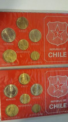 Chile coins lot of 12 from 1970-1980 uncirculated