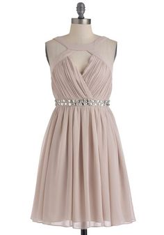 A Shine of Its Own Dress - Mid-length, Pink, Solid, Rhinestones, Wedding, Party, A-line, Sleeveless, Spring