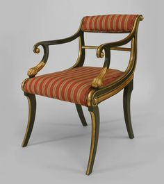 Set of 12 English Regency Style Gilt and Green Painted Dining Room Chairs For Sale English Antique Furniture, Georgian Furniture, French Furniture, Modern Furniture, Classic Furniture, Dining Arm Chair, Dining Room Chairs, Arm Chairs, Furniture Styles