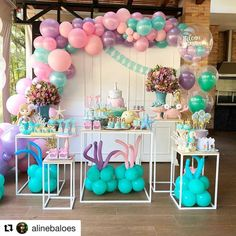 Birthday girl party decorations little mermaids 70 super ideas Mermaid Theme Birthday, Girls Birthday Party Themes, 4th Birthday Parties, Girl Birthday, Wedding Balloon Decorations, Girls Party Decorations, Mermaid Baby Showers, Little Mermaid Parties, Birthday Wishes For Girlfriend
