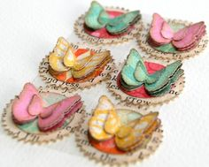 These little fluttering creations would be just perfect for your card making, scrapbooking or altered art. Paper Butterflies, Butterfly Cards, Paper Flowers, Arts And Crafts, Paper Crafts, Diy Paper, Candy Cards, Paper Candy, Scrapbook Embellishments