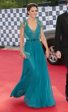 The Duchess stunned in a teal Jenny Packham gown while attending the London Olympic gala in May 2012