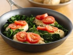 Easy Chicken with Tomatoes and Spinach - I'm going to try this with swiss chard from my garden